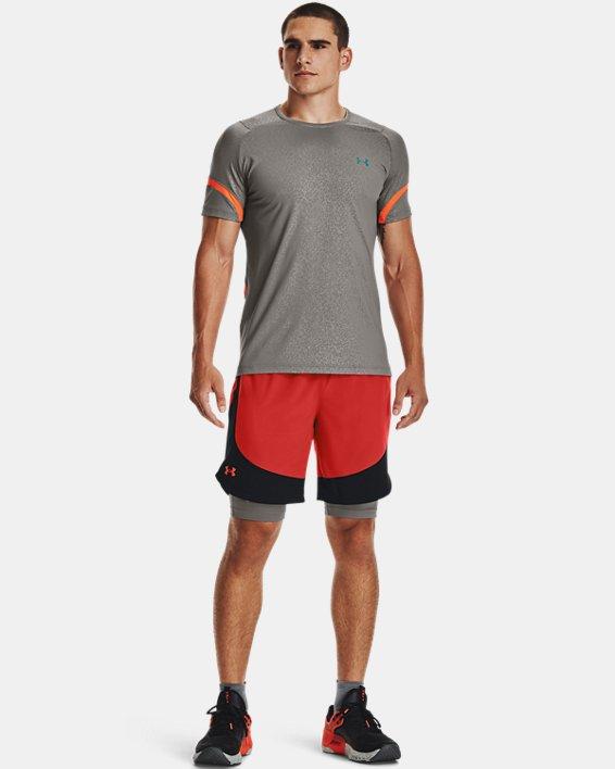 Men's UA RUSH™ HeatGear® 2.0 Emboss Short Sleeve, Gray, pdpMainDesktop image number 0