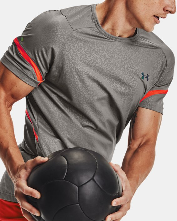 Men's UA RUSH™ HeatGear® 2.0 Emboss Short Sleeve, Gray, pdpMainDesktop image number 6