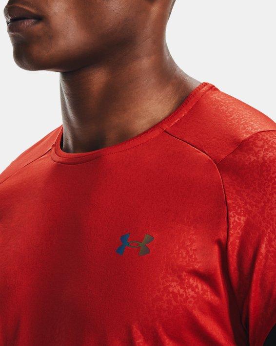 Haut à manches courtes UARUSH™ HeatGear®2.0 Emboss pour homme, Orange, pdpMainDesktop image number 7