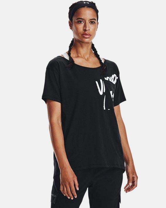Women's UA Oversized Wordmark Graphic T-Shirt, Black, pdpMainDesktop image number 0