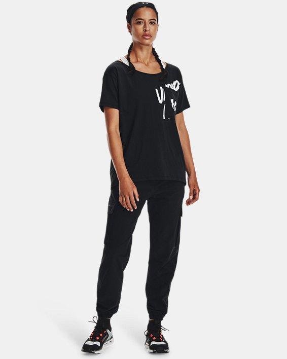 Women's UA Oversized Wordmark Graphic T-Shirt, Black, pdpMainDesktop image number 2