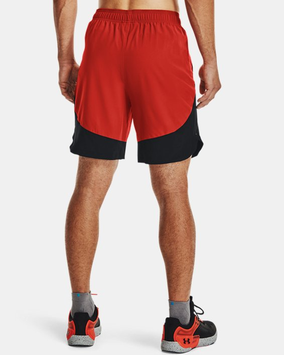 Men's UA HIIT Woven Colorblock Shorts, Orange, pdpMainDesktop image number 1