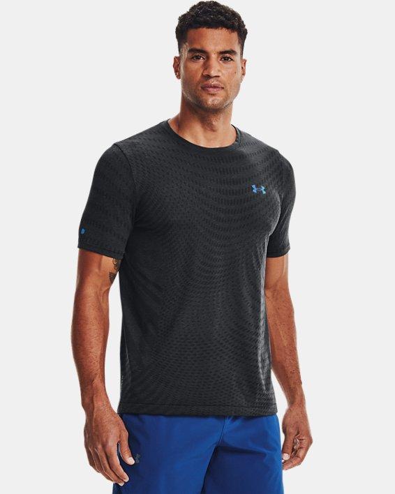 Men's UA RUSH™ HeatGear® Seamless Illusion Short Sleeve, Black, pdpMainDesktop image number 0