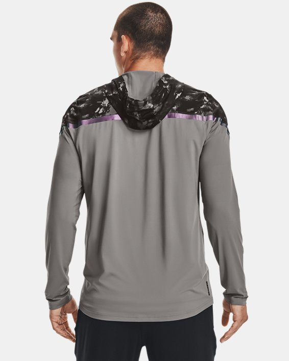 Men's UA RUSH™ HeatGear® Printed Full-Zip Hoodie, Gray, pdpMainDesktop image number 1