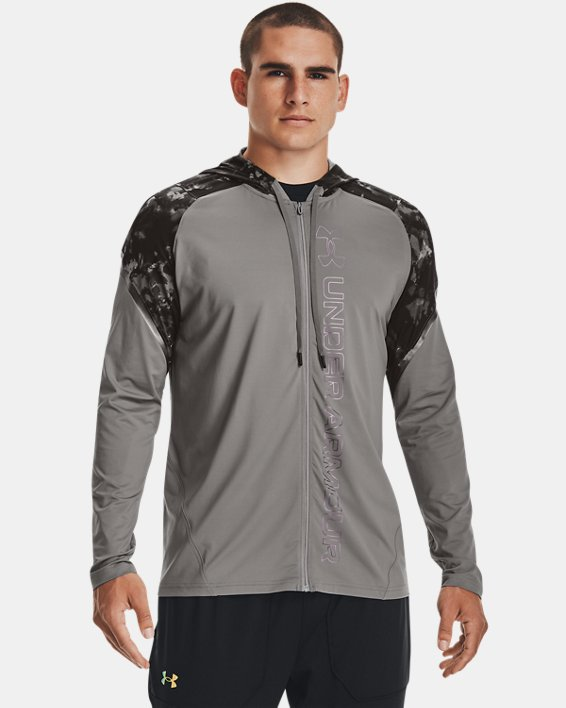 Men's UA RUSH™ HeatGear® Printed Full-Zip Hoodie, Gray, pdpMainDesktop image number 0
