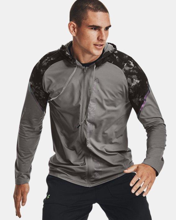 Men's UA RUSH™ HeatGear® Printed Full-Zip Hoodie, Gray, pdpMainDesktop image number 3
