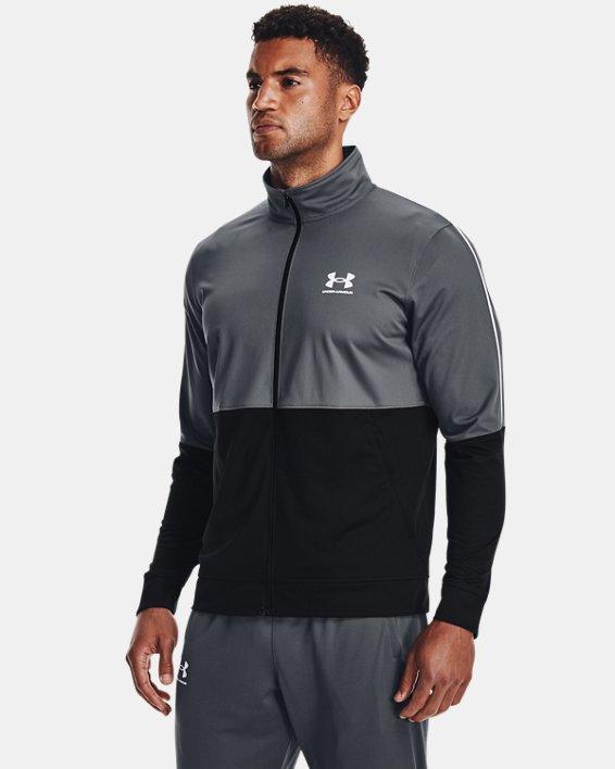 Men's UA Pique Track Jacket, Gray, pdpMainDesktop image number 1