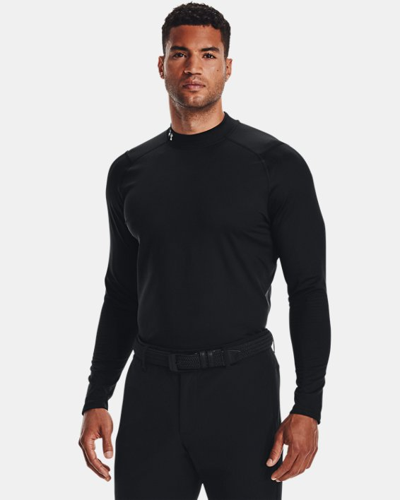 Men's ColdGear® Infrared Long Sleeve Golf Mock, Black, pdpMainDesktop image number 0