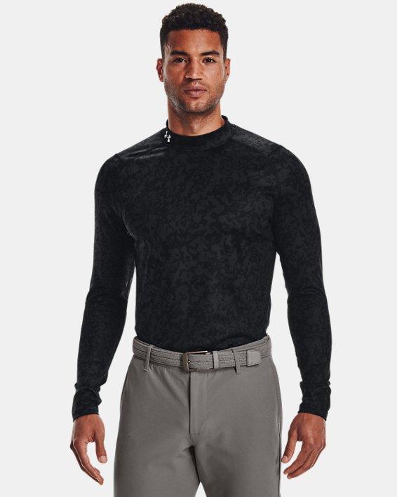 Men's ColdGear® Infrared Printed Long Sleeve Golf Mock, Gray, pdpMainDesktop image number 0