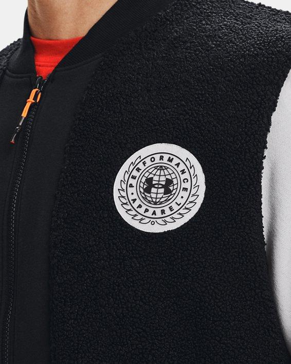 Men's UA Rival Fleece Alma Mater Bomber Jacket, Black, pdpMainDesktop image number 3