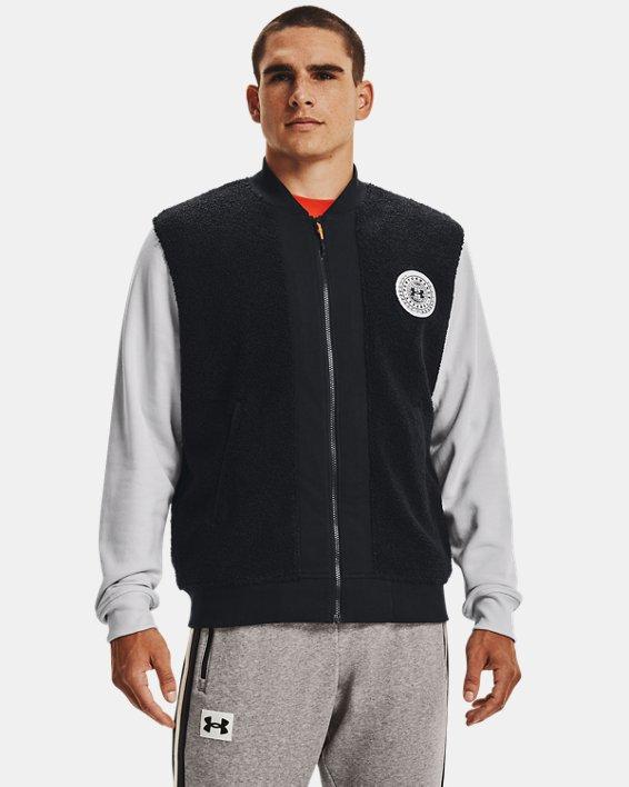 Men's UA Rival Fleece Alma Mater Bomber Jacket, Black, pdpMainDesktop image number 0