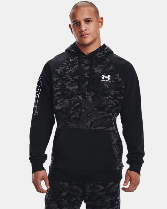 Men's UA Rival Fleece Camo Script Hoodie, Black, pdpMainDesktop image number 1
