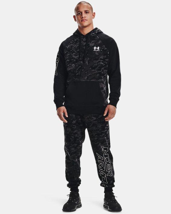 Men's UA Rival Fleece Camo Script Hoodie, Black, pdpMainDesktop image number 0