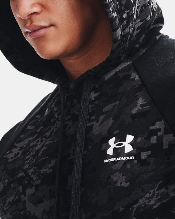 Men's UA Rival Fleece Camo Script Hoodie, Black, pdpMainDesktop image number 5