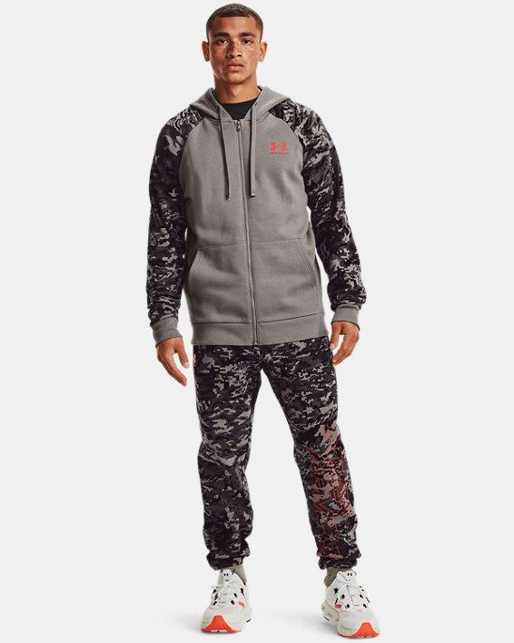 Men's UA Rival Fleece Camo Script Full-Zip, Gray, pdpMainDesktop image number 0