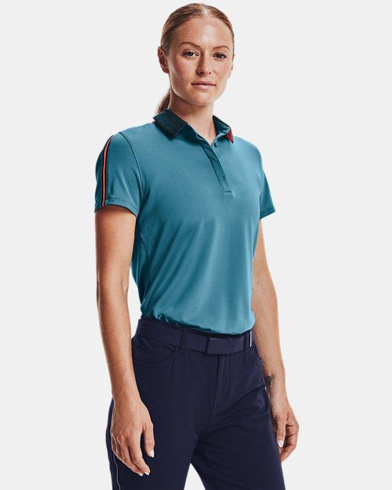 Polo UA Zinger Sleeve Stripe para mujer, Blue, pdpMainDesktop image number 1