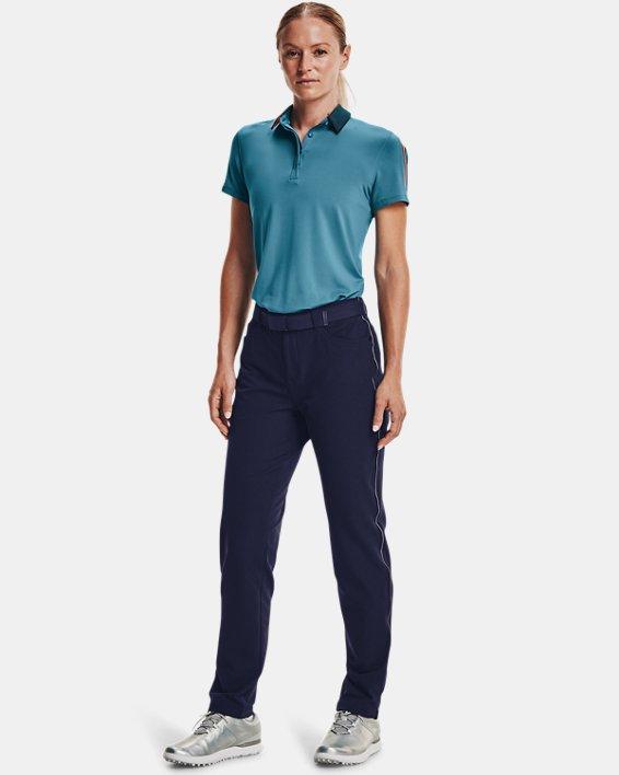 Polo UA Zinger Sleeve Stripe para mujer, Blue, pdpMainDesktop image number 0
