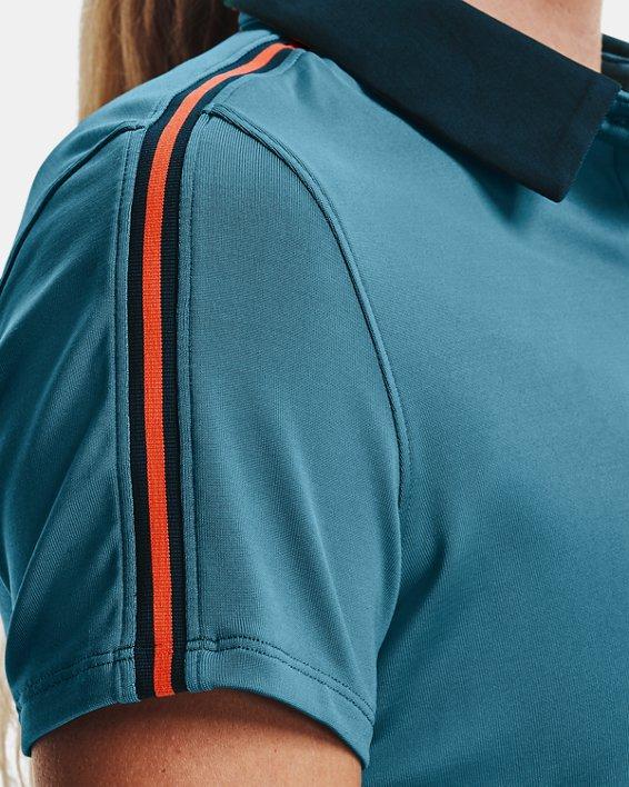 Polo UA Zinger Sleeve Stripe para mujer, Blue, pdpMainDesktop image number 3
