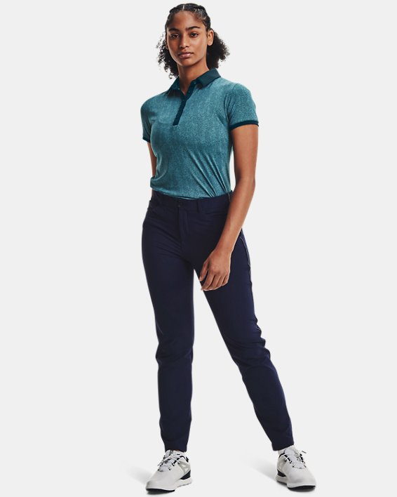Women's UA Zinger Printed Short Sleeve Polo, Blue, pdpMainDesktop image number 2