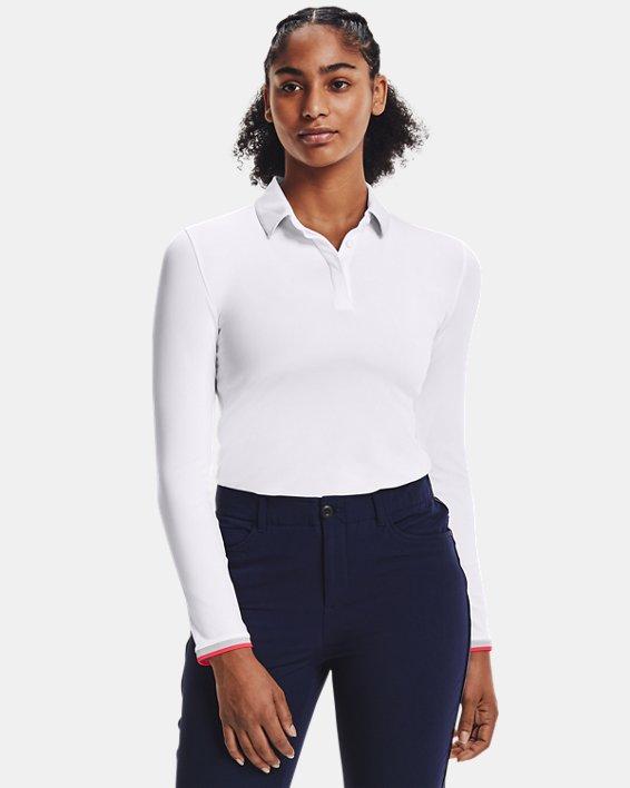 Women's UA Zinger Long Sleeve Polo, White, pdpMainDesktop image number 1