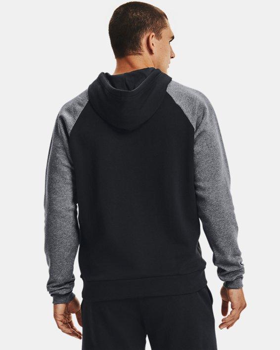 Men's UA Rival Fleece Colorblock Hoodie, Black, pdpMainDesktop image number 1