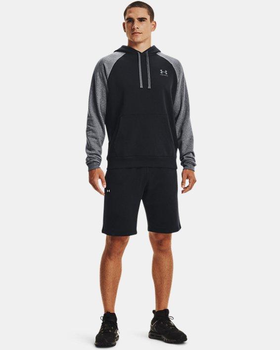 Men's UA Rival Fleece Colorblock Hoodie, Black, pdpMainDesktop image number 2