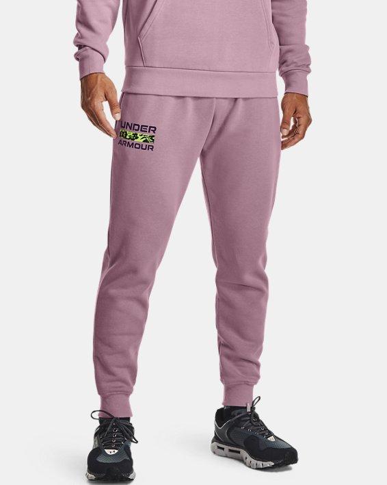 Men's UA Rival Fleece Signature Joggers, Pink, pdpMainDesktop image number 0
