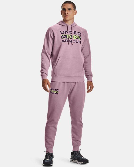 Men's UA Rival Fleece Signature Joggers, Pink, pdpMainDesktop image number 2