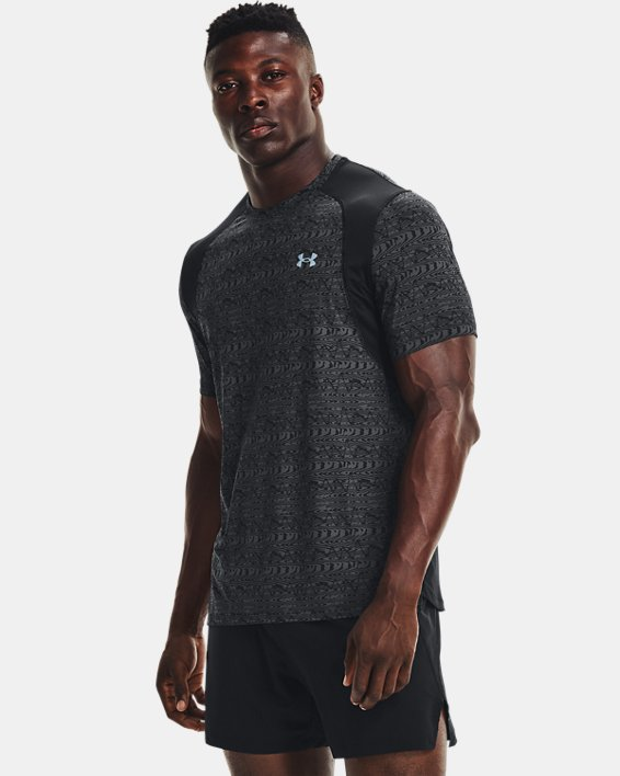 Men's UA Iso-Chill Run 200 Print Short Sleeve, Black, pdpMainDesktop image number 0