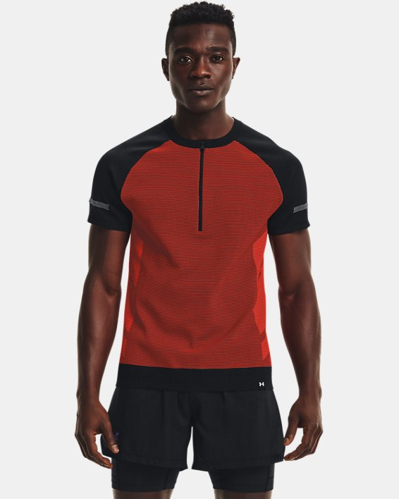 Men's UA IntelliKnit ¼ Zip Short Sleeve, Black, pdpMainDesktop image number 1