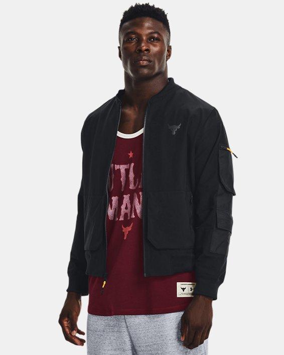 Men's Project Rock Bomber Jacket, Black, pdpMainDesktop image number 0