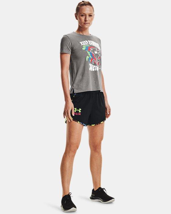 Women's UA Keep Run Weird Graphic Short Sleeve, Gray, pdpMainDesktop image number 2