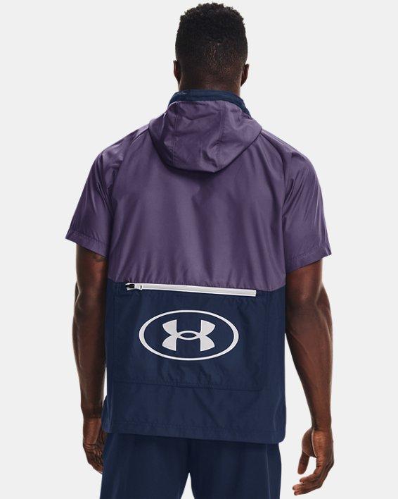 Men's UA Evolution Woven Full-Zip Short Sleeve Hoodie, Purple, pdpMainDesktop image number 1