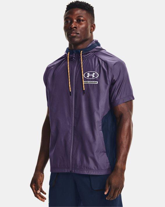 Men's UA Evolution Woven Full-Zip Short Sleeve Hoodie, Purple, pdpMainDesktop image number 0
