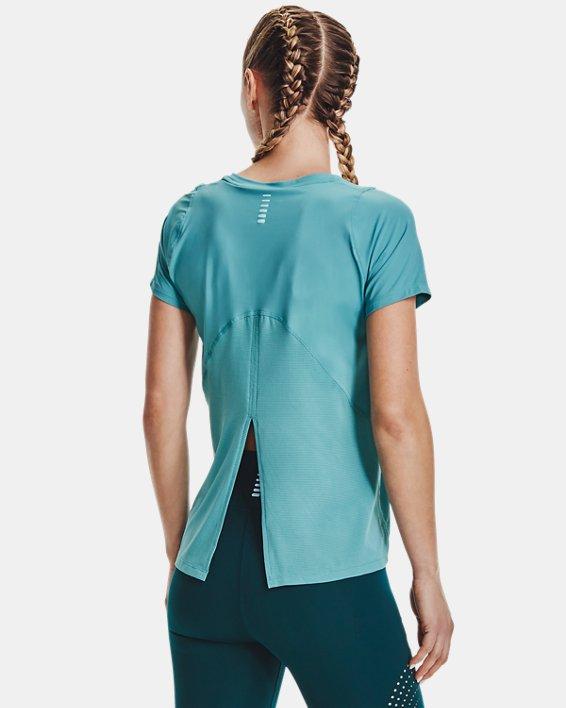 Women's UA Iso-Chill Run Short Sleeve, Blue, pdpMainDesktop image number 2
