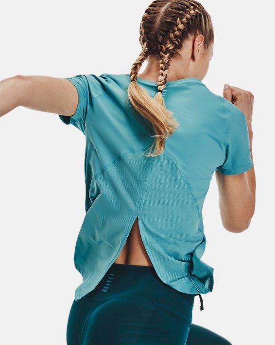 Women's UA Iso-Chill Run Short Sleeve, Blue, pdpMainDesktop image number 5