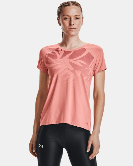 Camiseta de manga corta UA Iso-Chill Run para mujer, Pink, pdpMainDesktop image number 1