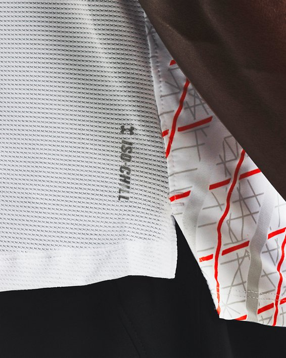 Men's UA Iso-Chill Run Short Sleeve, White, pdpMainDesktop image number 3