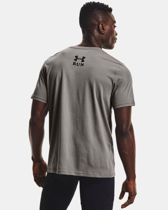 Men's UA Keep Run Weird Graphic Short Sleeve, Gray, pdpMainDesktop image number 1