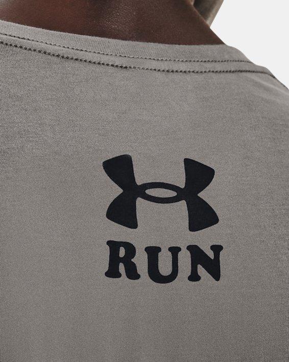Men's UA Keep Run Weird Graphic Short Sleeve, Gray, pdpMainDesktop image number 3
