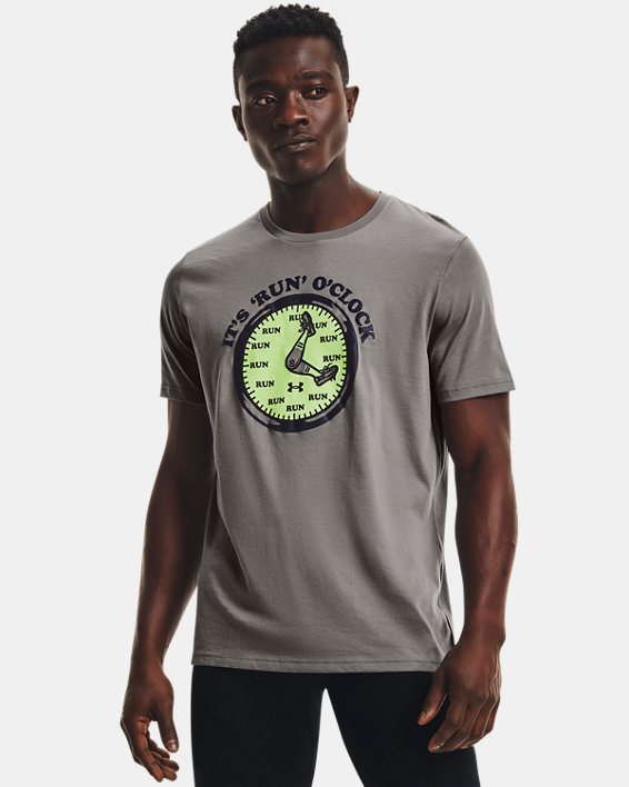Men's UA Keep Run Weird Graphic Short Sleeve, Gray, pdpMainDesktop image number 0