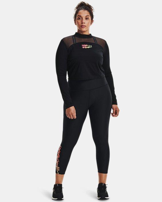 Women's HeatGear® Armour No-Slip Waistband Graphic Ankle Leggings, Black, pdpMainDesktop image number 2