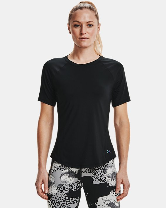 Women's UA RUSH™ Short Sleeve, Black, pdpMainDesktop image number 1
