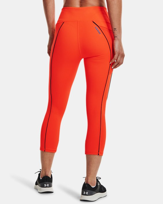 Women's UA RUSH™ HeatGear® No-Slip Waistband Mesh Pocket Capris, Orange, pdpMainDesktop image number 2