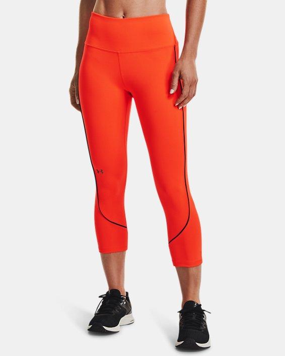Women's UA RUSH™ HeatGear® No-Slip Waistband Mesh Pocket Capris, Orange, pdpMainDesktop image number 1