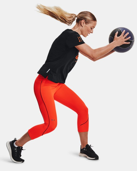 Women's UA RUSH™ HeatGear® No-Slip Waistband Mesh Pocket Capris, Orange, pdpMainDesktop image number 0