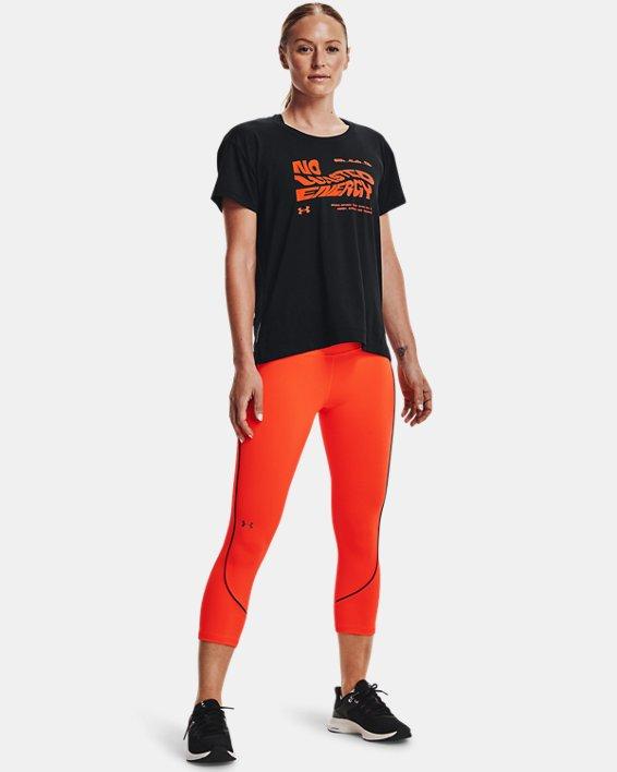 Women's UA RUSH™ HeatGear® No-Slip Waistband Mesh Pocket Capris, Orange, pdpMainDesktop image number 6