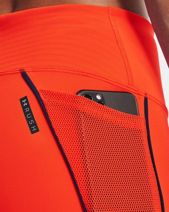 Women's UA RUSH™ HeatGear® No-Slip Waistband Mesh Pocket Capris, Orange, pdpMainDesktop image number 3