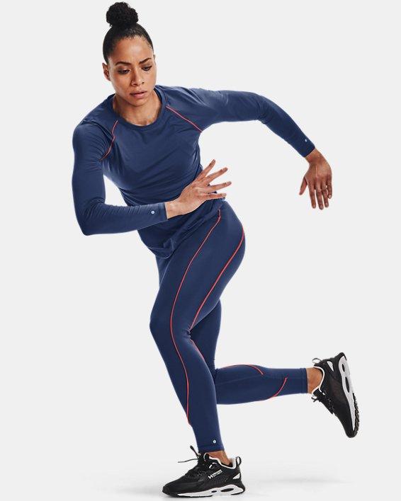 Women's UA RUSH™ HeatGear® No-Slip Waistband Mesh Pocket Full-Length Leggings, Blue, pdpMainDesktop image number 2
