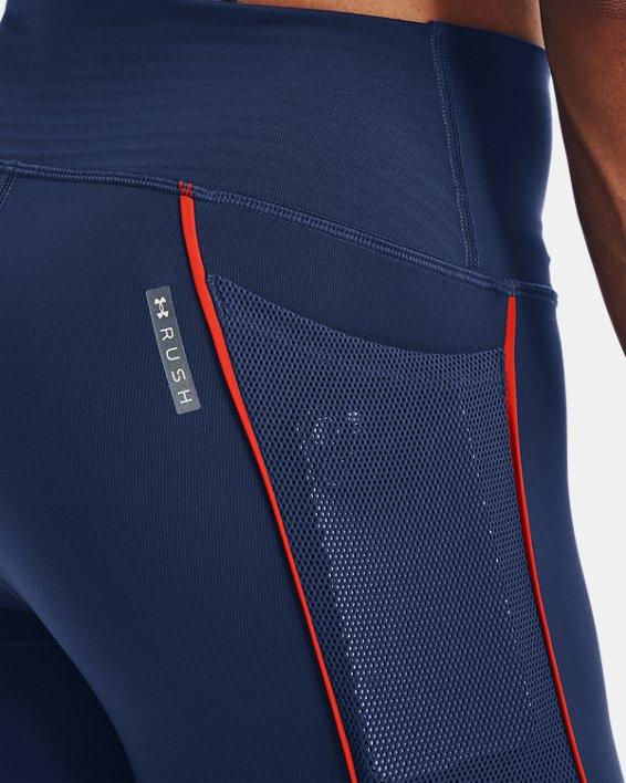 Women's UA RUSH™ HeatGear® No-Slip Waistband Mesh Pocket Full-Length Leggings, Blue, pdpMainDesktop image number 3